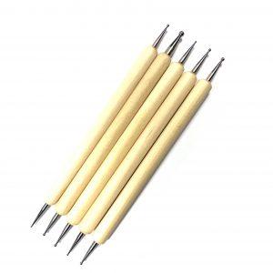 סט 5 מנקדי עץ לקישוטי ציפורניים (3 גדלים)
