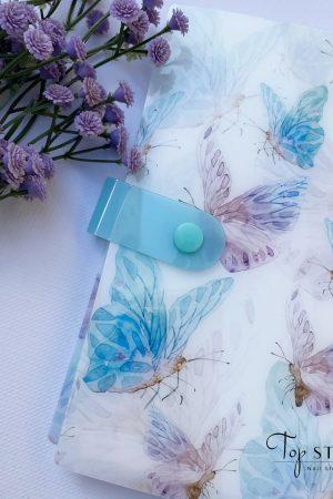 חוברת לאחסון מדבקות (לנוחות מקסימלית ושמירה על הסדר) – תכלת לבן פרפרים