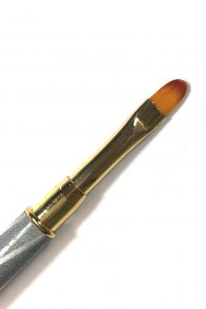 מברשת דו צדדית ג'ל Oval 6 & שפדולה מתכת צבעונית לחיתוך פוליג'ל (אפור זהב)