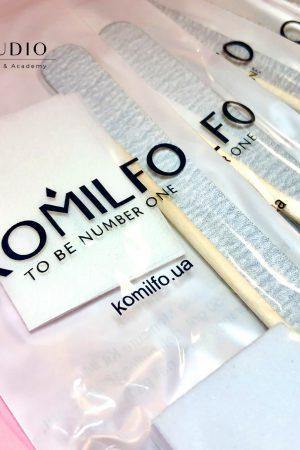 10 סטים – פצירה, באפר, פדים ללא סיבים, מקלון עץ – קומילפו Komilfo