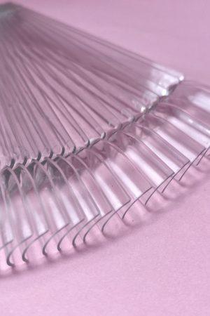 50 יח' טיפסים פלסטיק עם חישוק לתצוגת צבעים – Nail Tips Ring (ריבוע צבע שקוף)