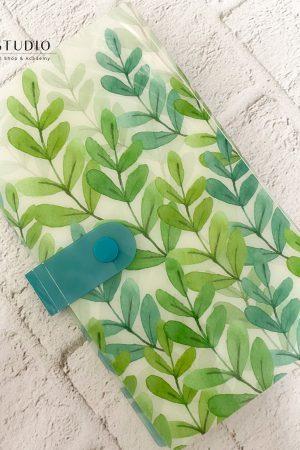 חוברת לאחסון מדבקות (לנוחות מקסימלית ושמירה על הסדר) – עלים בגווני טורקיז ירוק