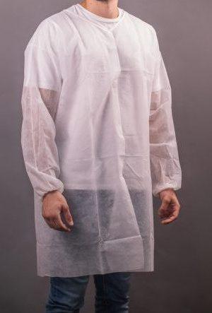 חלוק אל בד חד פעמי לקוסמטיקאית עם סקוטש 10 יח' – צבע לבן