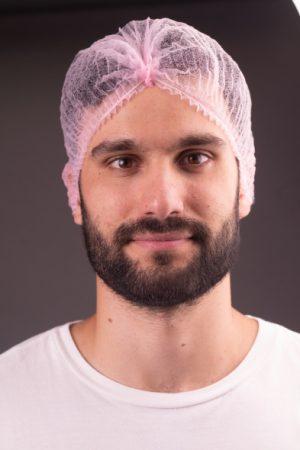 100 יח' כובע מכווץ לטיפולי קוסמטיקה אל-בד צבע (ורוד בייבי)