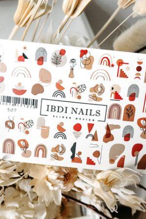 מדבקות מיוחדות לעיצוב ציפורניים – סליידר IBDI Nails №507