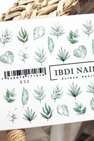 מדבקות מיוחדות לעיצוב ציפורניים – סליידר IBDI Nails №532