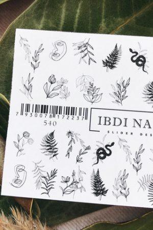 מדבקות מיוחדות לעיצוב ציפורניים – סליידר IBDI Nails №540