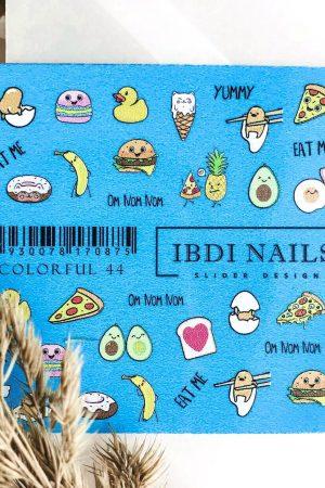 מדבקות מיוחדות לעיצוב ציפורניים – סליידר IBDI Nails COLORFUL №44