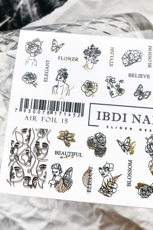 מדבקות מיוחדות לעיצוב ציפורניים – סליידר IBDI Nails AIR FOIL 15