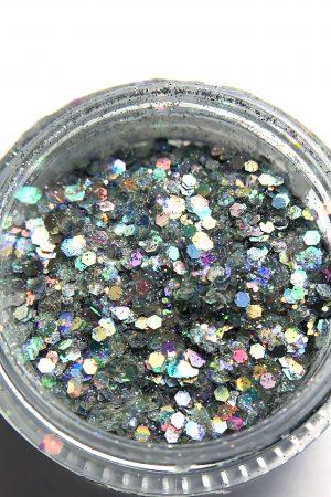 אבקת גליטרים/נצנצים לקישוט הציפורניים Glitter Powder כסף הולוגרפי