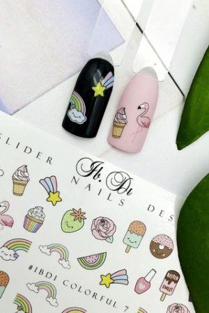מדבקות מיוחדות לעיצוב ציפורניים – סליידר IBDI Nails COLORFUL №07