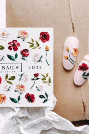 מדבקות מיוחדות לעיצוב ציפורניים – סליידר IBDI Nails 3D32