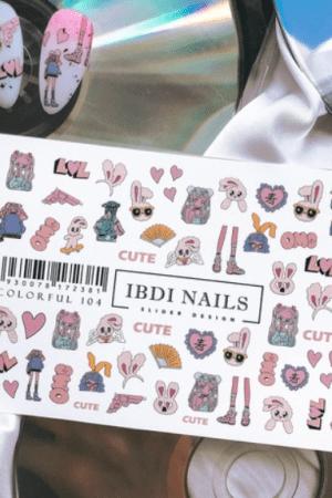 מדבקות מיוחדות לעיצוב ציפורניים – סליידר IBDI Nails COLORFUL104